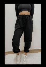 Calca pantalona moleton preta