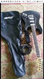 Guitarra Giannini com capa, Cabo e correa