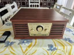 Vitrola Toca Discos De Vinil Sonata BT, Discos, CD Player, FM, Bluetooth, USB