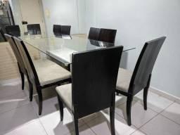 Mesa de Jantar vidro+ mármore