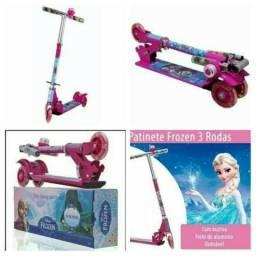 Patinet 3 rodas reforçado rosa frozen ou unicornio pony luz led e musical  novo 0km
