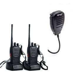 Kit com 02 rádios + 0 2 microfone PTT.