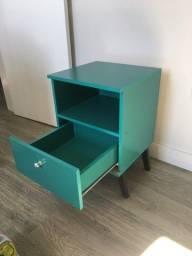 Mesa de Cabeceira Azul Turquesa
