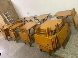 Diversos modelos de Mesas e Cadeiras de Madeira Dobrável a Pronta Entrega