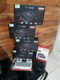 TV box já com o teclado Bluetooth