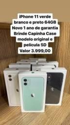 iPhone 11 verde, branco e preto 64GB LOJA FÍSICA