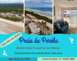 Em Ilhéus, Praia da Pérola,  2 Quartos, 01 suíte,  68 m², varanda, vista mar