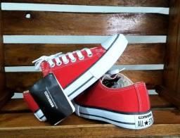 Tênis All Star Converse Lona Mostarda/vermelho