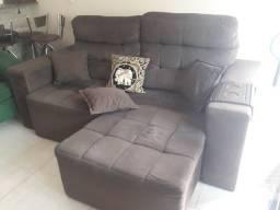 Sofá Reclinável e extensível tipo cama casal, cor marron Semi Novo!