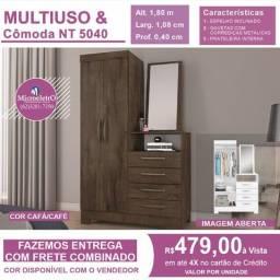 Multiuso Comoda e Espelho NT 5040 2 Portas 4 Gavetas com espelho