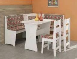 Mesa de jantar em forma de L cm um banco e 4 cadeiras