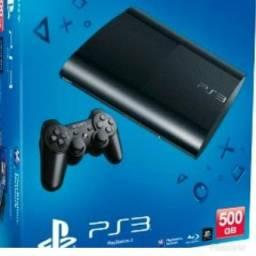 Vendo ps3 ,com 3 jogos , controle , cabos ,na caixa com HD de 500 giga