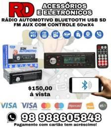 RADIO AUTOMOTIVO BLUETOOTH USB SD FM AUX RCA COM CONTROLE