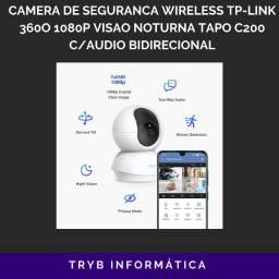 Camera de segurança wireless tp link 360o 1080p visão noturna tapo c200