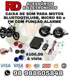 CAIXA DE SOM BLUETOOTH USB SD FM COM FUNÇÃO ALARME PARA MOTOS UNIVERSAL