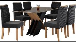 Mesa de jantar 6 cadeiras mesa de jantar preta