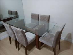 Mesa vidro 1,80x0,90 c/ 5 cadeiras