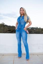 Macação Calça Jeans Lycra Cores Azul ou Preto
