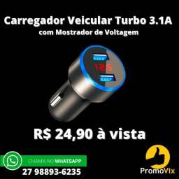 Promoção!! Carregador Veicular Carro Rápido Turbo Fast Qualcom 3.0