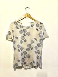 Blusa estampada manga curta em algodão