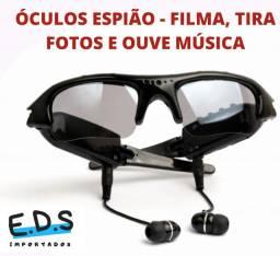 Óculos Espião de Sol Com Fone de Ouvido Tira Foto e Filma