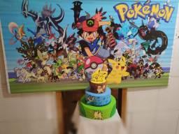 Kit festa pokémon painel 1,84 x 98 cm + bolo decorativo fake + 2 esferas pokebola