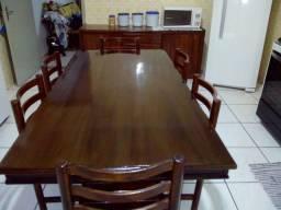 Mesa com 6 cadeiras de madeira maciça 950 só pelo ZAP