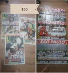 3 jornal com pôster/ títulos spfc