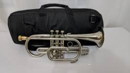 Trompete Cornet Weril Brasil Sib Niquel Com Bocal Jc Custom