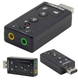 Placa de Som Áudio Externo USB 7.1 Channel Microfone e Fone Novo