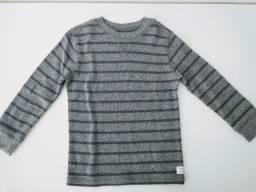 Blusa algodão Carters (3T) listras cinzas