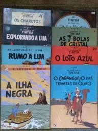 Revista Tintim, edições encadernadas antigas, títulos variados. Lote de 8.