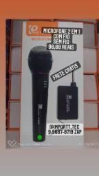 Microfone 2 em 1 com fio e sem fio frete grátis