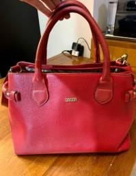 Bolsa couro legítimo Sagga vermelha