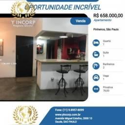 Apartamento para Venda em São Paulo, Pinheiros, 1 dormitório, 1 suíte, 2 banheiros, 1 vaga