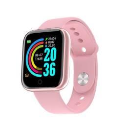 Relógio Smartwatch Y68 D20 Caixa De Plástico Rosa Pulseira Rosa De Silicone