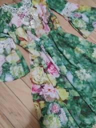 Título do anúncio: Vestido Tropical de Seda