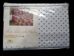 Jogo de cama queen azul com branco bolinha R$140.00
