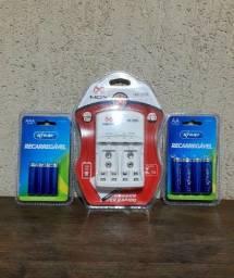 Carregador de pilhas + Pilhas AA + Pilhas AAA