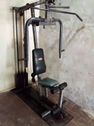 Estação de musculação com 100kg de carga peso maciço..