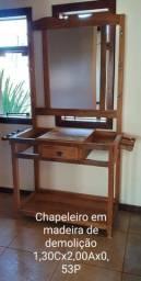 Chapeleiro em madeira de demolição com espelho incluso