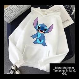 Blusa Moletom Lilo E Stitch Desenho Animado Feminino Capuz.