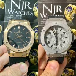 Relógio Hublot Borracha Bronze/prata novo