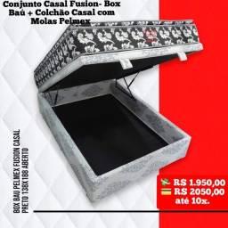 Entrega grátis de Conj Casal Fusion Pelmex com Box Baú