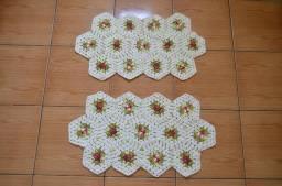 Tapete crochê flores duplo