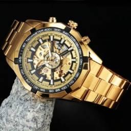 Relógio Automático Forsining (dourado, aço-inox, resistente à agua)