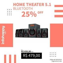 Home Theater 5.1 USB,SD,Rádio FM Bluetooth 105W-Promoção
