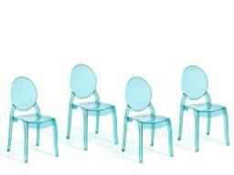 Par de cadeiras de jantar - Acrílico azul-transparente
