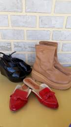 Promoção imperdível de desapego, 3 pares de calçados com preço de um