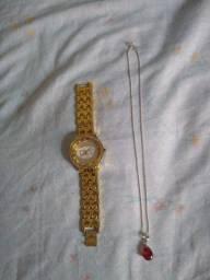 Barbada os 2 pôr 50 relógio feminino e corrente de prata 925